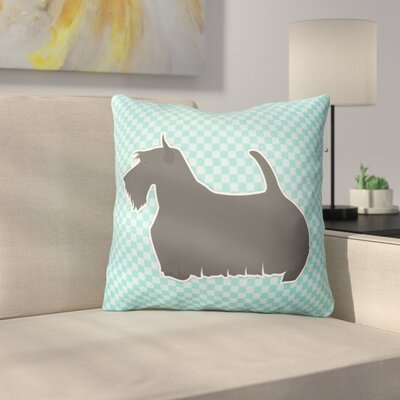 Scottish Terrier Square Indoor/Outdoor Throw Pillow Size: 14 H x 14 W x 3 D, Color: Blue