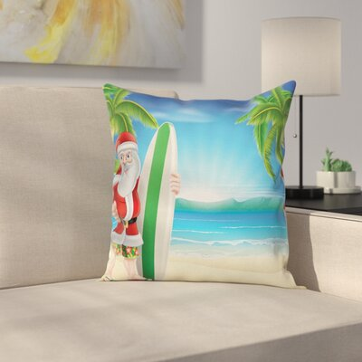 Christmas Santa with Surfboard Square Pillow Cover Size: 16 x 16