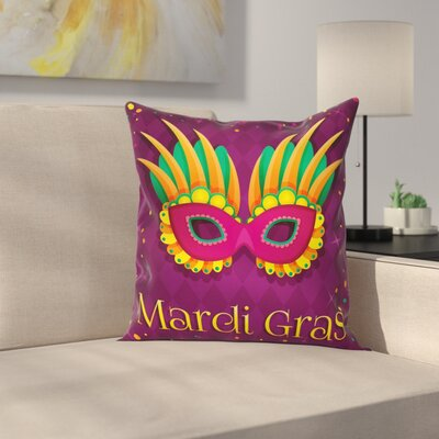 Mardi Gras Festival Stars Dots Square Cushion Pillow Cover Size: 16 x 16