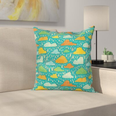 Kids Room Decor Puffy Clouds Square Pillow Cover Size: 16 x 16