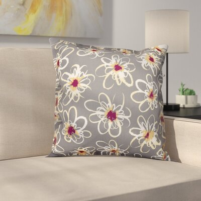 Cherry Penelope Floral Geometric Outdoor Throw Pillow Size: 18 H x 18 W, Color: Gray