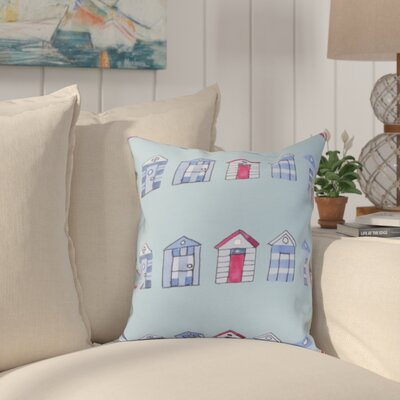 Crider Multi Beach Hut Stripe Print Indoor/Outdoor Throw Pillow Color: Aqua, Size: 18 x 18