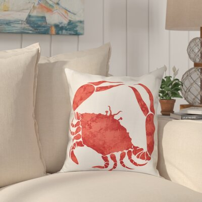Boubacar Crab Throw Pillow Size: 16 H x 16 W, Color: Coral
