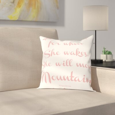 Let Her Sleep Mountains Throw Pillow Size: 18 H x 18 W x 2 D, Color: Pink