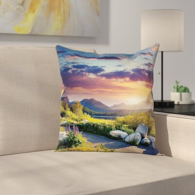 Idyllic Sky Europe Park Cushion Pillow Cover Size: 18 x 18
