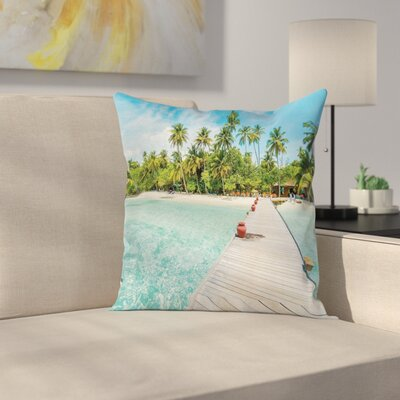 Maldives Island Beach Cushion Pillow Cover Size: 16 x 16