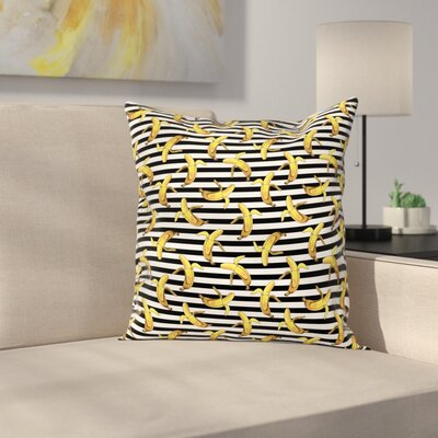 Stripes Tropical Bananas Square Cushion Pillow Cover Size: 18 x 18