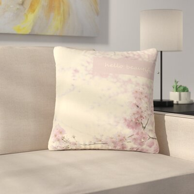Robin Dickinson Hello Beautiful Typography Outdoor Throw Pillow Size: 16 H x 16 W x 5 D