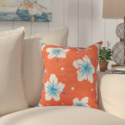 Golden Beach Hibiscus Blooms Floral Outdoor Throw Pillow Size: 20 H x 20 W, Color: Orange