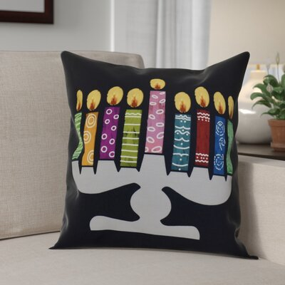 Hanukkah 2016 Decorative Holiday Geometric Outdoor Throw Pillow Size: 18 H x 18 W x 2 D, Color: Navy Blue