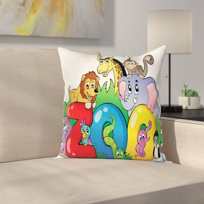 Zoo Zoo Sign Various Mascots Square Pillow Cover Size: 16 x 16
