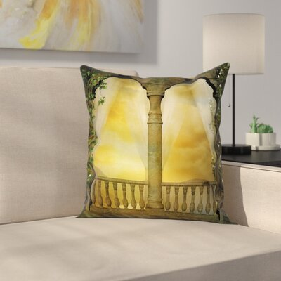 Ancient Balcony Pillow Cover Size: 18 x 18