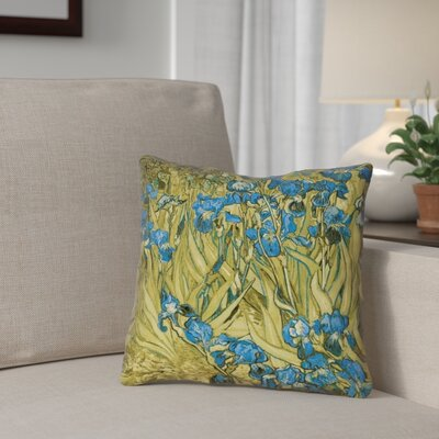 Bristol Woods Irises Double Sided Print Pillow Cover Color: Yellow/Blue, Size: 14 x 14