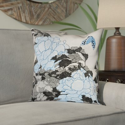 Clair Peonies and Butterfly Square Pillow Cover Size: 14 H x 14 W, Color: Gray/Blue