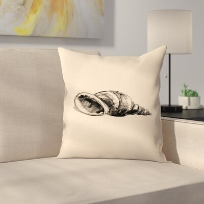 Jetty Printables Illustrated Sea Shell 1 Throw Pillow Size: 14 x 14