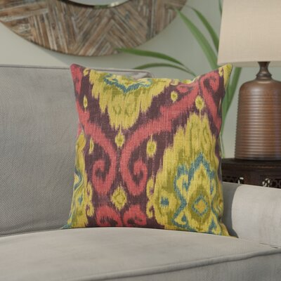Bettembourg Ikat Cotton Throw Cushion Color: Mulberry, Size: 18 H x 18 W