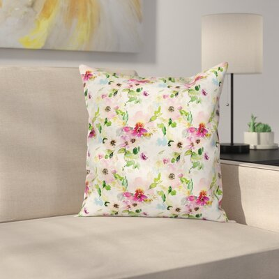 Spring Flowers Pastel Square Pillow Cover Size: 24 x 24