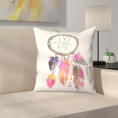 Jetty Printables Watercolor Dreamcatcher Throw Pillow Size: 14 x 14