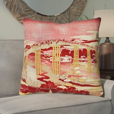 Enya Japanese Bridge Square Throw Pillow Color: Red/Orange, Size: 14 x 14