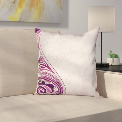 Floral Swirled Petals Motif Cushion Pillow Cover Size: 16 x 16