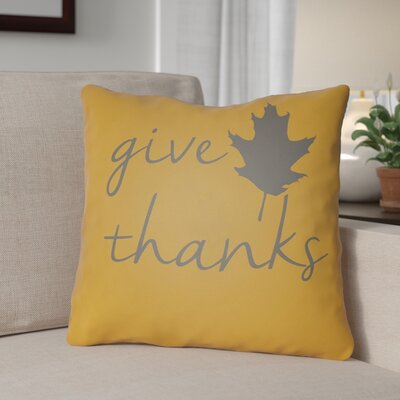 Thanksgiving Indoor/Outdoor Throw Pillow Size: 18 H x 18 W x 4 D, Color: Orange/Gray