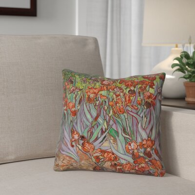 Morley Irises Double Sided Print Pillow Cover Color: Orange/Green, Size: 14 x 14
