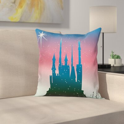 Fantasy Medieval Castle Stars Square Pillow Cover Size: 18 x 18