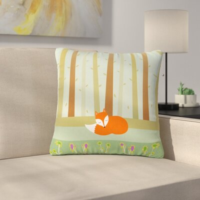 Cristina Bianco Sleeping Fox Illustration Outdoor Throw Pillow Size: 16 H x 16 W x 5 D