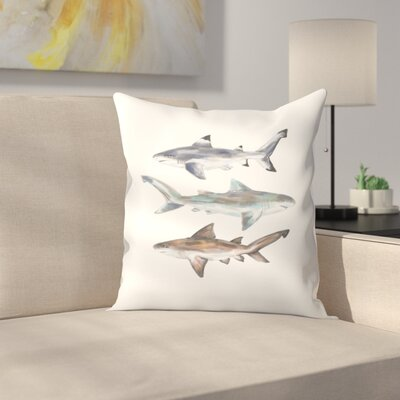 Jetty Printables Painted Shark Trio 2 Throw Pillow Size: 14 x 14