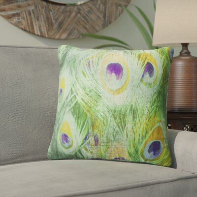Dylan Feather Throw Pillow Color: Green, Size: 16 x 16