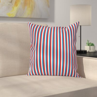 Stripe Patriotic Square Cushion Pillow Cover Size: 20 x 20