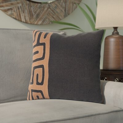 Kreta Linen Throw Pillow Size: 22 H x 22 W x 4 D, Color: Black/Rust
