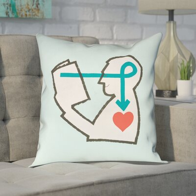 Enciso Reading Love�Throw Pillow Size: 16 x 16, Color: Blue