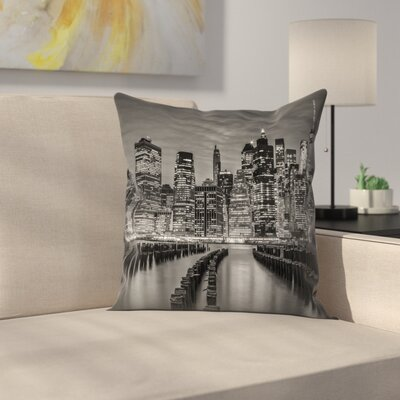Manhattan Skyline Evening Atmosphere Throw Pillow Size: 14 x 14