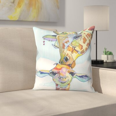Giraffe Tina and Tiny Throw Pillow Size: 16