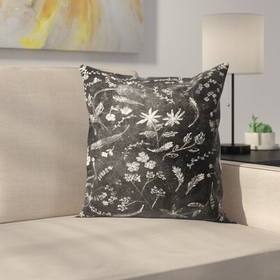 Flowers In Chalk Throw Pillow Size: 18 x 18