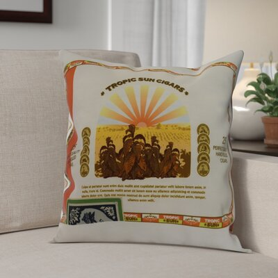 Gasaway Cigar Box Throw Pillow Color: Orange, Size: 20 x 20