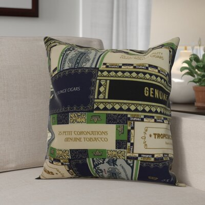 Gasaway Cigar Box Throw Pillow Color: Navy Blue, Size: 16 x 16