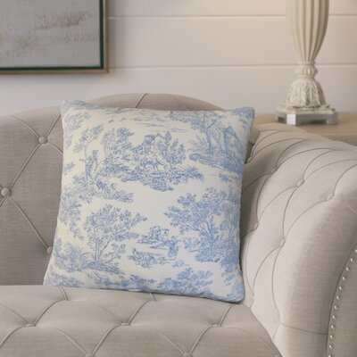 Santino Toile Cotton Throw Pillow Color: Denim