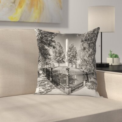 Boston Monument Square and Bunker Hill Monument Throw Pillow Size: 14 x 14