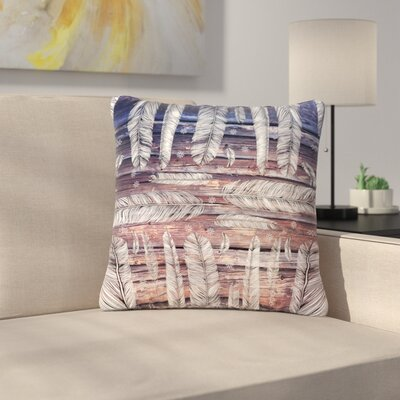Suzanne Carter Snowflakes and Feathers Outdoor Throw Pillow Size: 18 H x 18 W x 5 D