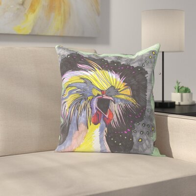 Screaming Chicken Throw Pillow Size: 16 x 16