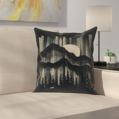 A Wolf in the Night Throw Pillow Size: 18 x 18