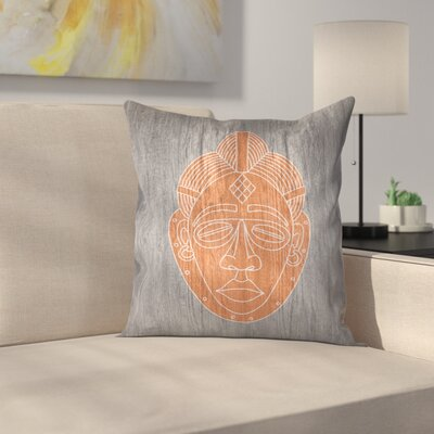 African Mask Black Throw Pillow Size: 20 x 20, Color: Orange