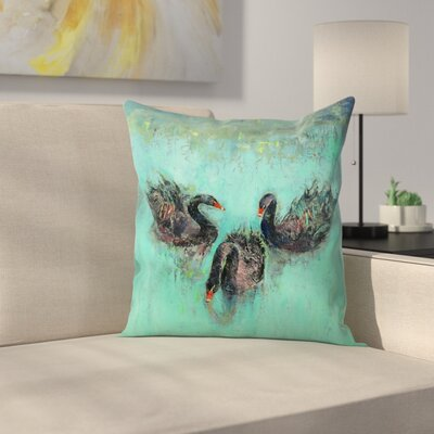 Black Swans Throw Pillow Size: 14 x 14