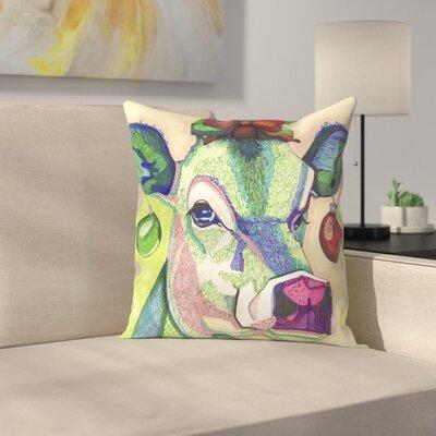 Cow Throw Pillow Size: 18 x 18