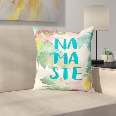 Tropical Namaste Throw Pillow Size: 14 x 14