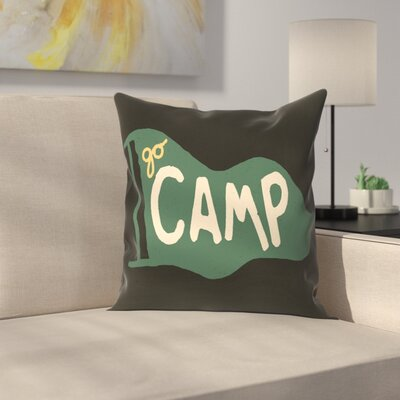 Go Camp Throw Pillow Size: 16 x 16