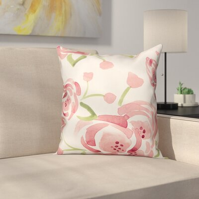 Marlon Watercolor Roses Throw Pillow