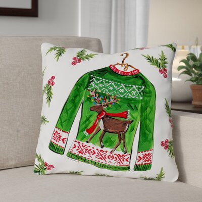 Reindeer Sweater Throw Pillow Size: 18